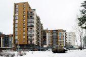 Winter in capital of Lithuania Vilnius city Bajoru hills district — Stock Photo