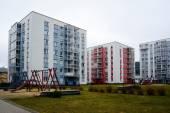 Cidade de Vilnius casas no distrito de Zirmunai, cidade de Nord — Fotografia Stock