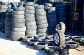 Market of second hand used tyres in Vilnius city — Stock Photo