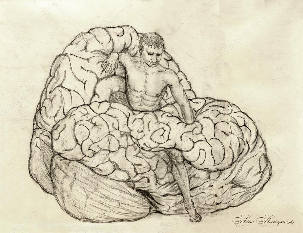 Depositphotos Stock Photo Surreal Pencil Drawing Of Man Drawings