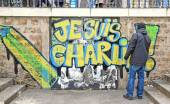 I am Charlie: the answer of a French artist to the terrorist acts committed in January, 2015 (Paris France) — Stock Photo