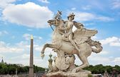 Mercury riding Pegasus, the Tuileries, statue of Coysevox (dated thousand six hundred forty . thousand seven hundred twenty)  (Paris France) — Stock Photo