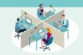 Office Workers Sitting at Their Desks — Stock Vector