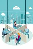Office Workers Sitting and City — Stock Vector