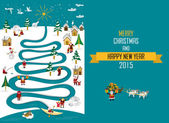 Arctic River Christmas 2015 (english Text) — Vector de stock