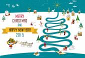 Eskimos New year Christmas 2015 (English Text) — Stock vektor