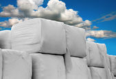 Heap of cubic hay bales — Stock Photo