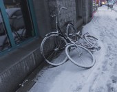 Bicycles covered in snow — Stock Photo