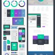 Flat UI kit for web and mobile, UI design, page website design template. — Stock Vector #52879601