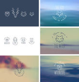 Insignias Bundle. Animals. Fox, wolf, deer, owl. — Stockvektor