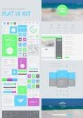 Flat UI kit for web and mobile, UI design, page website design template. — Stock vektor