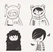 Modern Funny Characters — Stock Vector