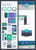 Flat UI kit for web and mobile, UI design, page website design template. — ストックベクタ