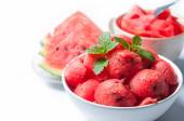 Food of watermelon on white bowl — Stock Photo
