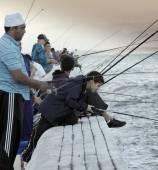 Group of people fishing on False Bay waters — Stok fotoğraf