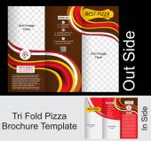 Tri Fold Pizza Brochure Tempate — Stock Vector