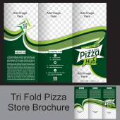 Tri Fold Pizza  Store Brochure — Stock Vector