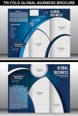 Tri Fold Global Business Brochure Template — Stock Vector