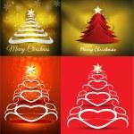 Merry christmas tree background set illustration — Stock Vector #60239119