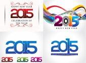 Happy new year background set illustration — Wektor stockowy