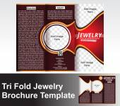 Tri Fold Jewlery Brochure Template — Stock Vector