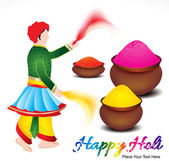 Happy holi background with traditional indian man — Stock Vector