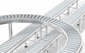 Metal Roller Conveyor System. — Stock Photo