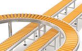 Orange Roller Conveyor System.  — 图库照片