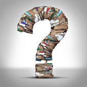 Recycle Cardboard Paper Question — Stock Photo