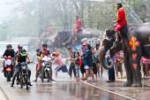 Water splashing during Songkran Festival — Stock Photo