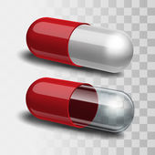 Red pills with white and transparent. — Stock Vector