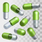 Set of green and transparent medical capsules in different positions — Stock Vector