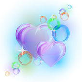 Romantic background with colorful bubble hearts shapes. — Stock Vector