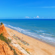 Sunny beach summer sea Albufeira in Portugal. For holiday enjoyment. — Stock Photo #57077639