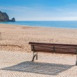 Secluded place for meditations on the sea shore. On a bench near the swing. — Stock Photo #57077689