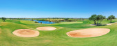 Beautiful panorama of the golf course. Summer of tourists. — Stock Photo
