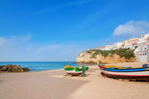 Landscape marine town of Carvoeiro with fishermen boats. Portugal. — Stock Photo