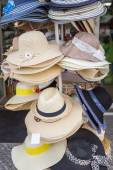 Set of summer hats for sale. Many panama. — Stock Photo