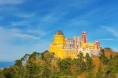 Panorama Pena Palace. Against the background of the ocean. Sintra Portugal. — Stock Photo