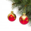 Christmas concept with baubles on white — Stock Photo #59726789
