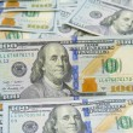 Background with money american hundred dollar bills - horizontal — Stock Photo #75338125