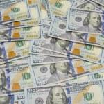 Background with money american hundred dollar bills - horizontal — Stock Photo #75338187
