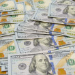 Background with money american hundred dollar bills - horizontal — Stock Photo #75338239