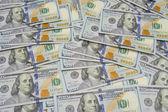 Background with money american hundred dollar bills - horizontal — Stock Photo