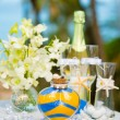 Tropical wedding ceremony, accessories — Stock Photo #55460177
