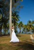 Wedding bride sea palm tree tropics  — Stock Photo