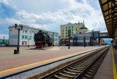 Krasnoyarsk, Russia - July 27, 2014: Railway Station Square Stat — Stock Photo
