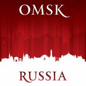 Omsk Russia city skyline silhouette red background  — Stock Vector