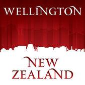 Wellington New Zealand city skyline silhouette red background  — Stock Vector