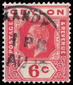 Stamp printed in CEYLON shows image of the George V — Stock Photo
